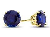 7x7mm Round Created Sapphire Post-With-Friction-Back Stud Earrings style: 25474