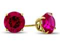 14k Yellow Gold 8mm Round Created Ruby Stud Earrings