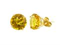 14k Yellow Gold 8mm Round Citrine Stud Earrings