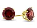 7x7mm Round Garnet Post-With-Friction-Back Stud Earrings