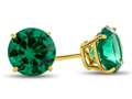 7x7mm Round Simulated Emerald Post-With-Friction-Back Stud Earrings