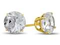 7x7mm Round White Topaz Post-With-Friction-Back Stud Earrings