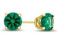 4.5x4.5mm Round Simulated Emerald Post-With-Friction-Back Stud Earrings