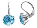 Color Craft™ 10.5mm Round Genuine Swarovski Crystal Aquamarine Color Lever Back Earrings