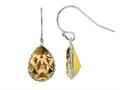 Color Craft™ 14x10 mm Pear Shape Golden Genuine Swarovski Crystal Drop Ear Wire Earrings