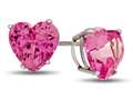 7x7mm Heart Shaped Created Pink Sapphire Post-With-Friction-Back Stud Earrings