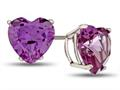 7x7mm Heart Shaped Simulated Alexandrite Post-With-Friction-Back Stud Earrings