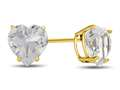7x7mm Heart Shaped White Topaz Post-With-Friction-Back Stud Earrings