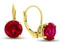 7x7mm Round Created Ruby Lever-back Earrings