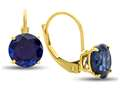 7x7mm Round Created Sapphire Lever-back Earrings
