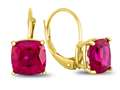 7x7mm Cushion Created Ruby Lever-back Earrings