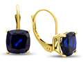 7x7mm Cushion Created Sapphire Lever-back Earrings