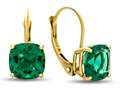 7x7mm Cushion Simulated Emerald Lever-back Earrings