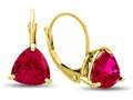 7x7mm Trillion Created Ruby Lever-back Earrings