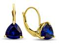 7x7mm Trillion Created Sapphire Lever-back Earrings