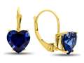 7x7mm Heart Shaped Created Sapphire Lever-back Earrings