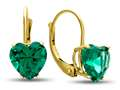 7x7mm Heart Shaped Simulated Emerald Lever-back Earrings