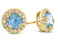 6x6mm Round Swiss Blue Topaz Post-With-Friction-Back Earrings
