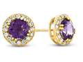 6x6mm Round Amethyst Post-With-Friction-Back Earrings