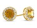 6x6mm Round Citrine Post-With-Friction-Back Earrings