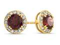 6x6mm Round Garnet Post-With-Friction-Back Earrings