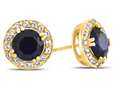6x6mm Round Created Sapphire Post-With-Friction-Back Earrings