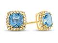 6x6mm Cushion Swiss Blue Topaz Post-With-Friction-Back Earrings