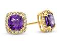 6x6mm Cushion Amethyst Post-With-Friction-Back Earrings