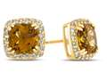 6x6mm Cushion Citrine Post-With-Friction-Back Earrings