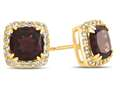 6x6mm Cushion Garnet Post-With-Friction-Back Earrings