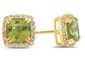 6x6mm Cushion Peridot Post-With-Friction-Back Earrings