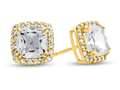 6x6mm Cushion White Topaz Post-With-Friction-Back Earrings