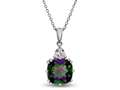 10x10mm Antique Shaped  Mystic Topaz and White Topaz Pendant- Free 18 Inch Rope Chain Included