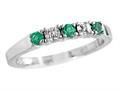 2.5mm Created Emerald And Diamond Band Ring