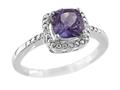 6x6mm Antique Shaped Amethyst and Diamond Ring