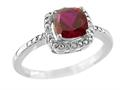 6x6mm Created Ruby and Diamond Ring