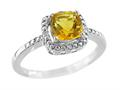 6x6mm Citrine and Diamond Ring
