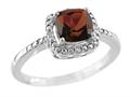 6x6mm Garnet and Diamond Ring