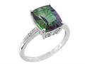 11x9mm Antique Shaped Mystic Topaz and Diamond Ring