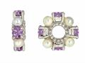 Storywheel® Amethyst And Cultured Pearl Bead / Charm