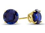 7mm Round Created Sapphire Post-With-Friction-Back Stud Earrings Style number: 25474