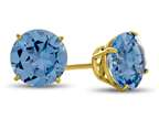 7x7mm Round Simulated Aquamarine Post-With-Friction-Back Stud Earrings Style number: E4043SIMAQ14KY