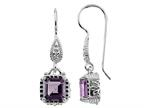 6x6mm Octagon Amethyst Fishhook Earrings Style number: E6565A