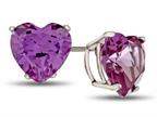 7x7mm Heart Shaped Simulated Alexandrite Post-With-Friction-Back Stud Earrings Style number: E7975SIMAL10KW