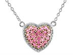 1.5mm Heart Shaped Created Pink Sapphire 18 Inch Necklace Style number: N842SPCRPS