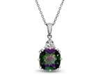 10x10mm Antique Shaped  Mystic Topaz and White Topaz Pendant - 18 Inch Rope Chain Included Style number: P5316MUL10