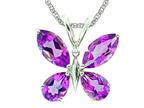 7x5 Antique Shaped Amethyst Butterfly Pendant with Rope Chain Style number: P6190A