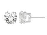 5mm Round Stud Created White Sapphire Earrings  - White
