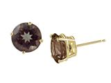 14k Yellow Gold 8mm Round Smoky Quartz Stud Earrings