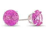 7x7mm Round Created Pink Sapphire Post-With-Friction-Back Stud Earrings style: E4043CRPS14KW